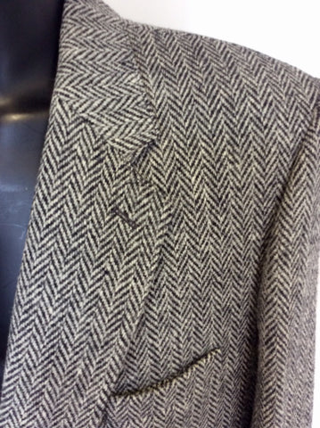 HARRIS TWEED BLACK & GREY WOOL JACKET SIZE 46""
