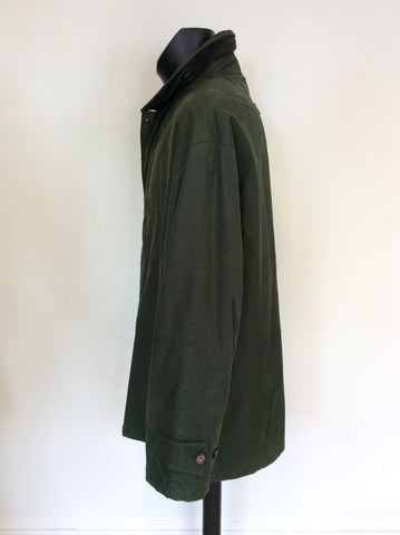 BARACUTA DARK GREEN ZIP & BUTTON FASTEN JACKET SIZE XL