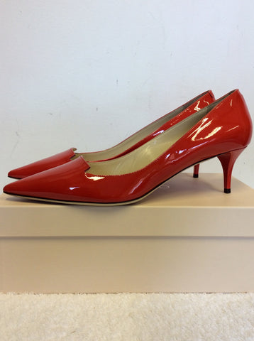 BRAND NEW JIMMY CHOO ALLURE RED PATENT LEATHER HEELS SIZE 7/40