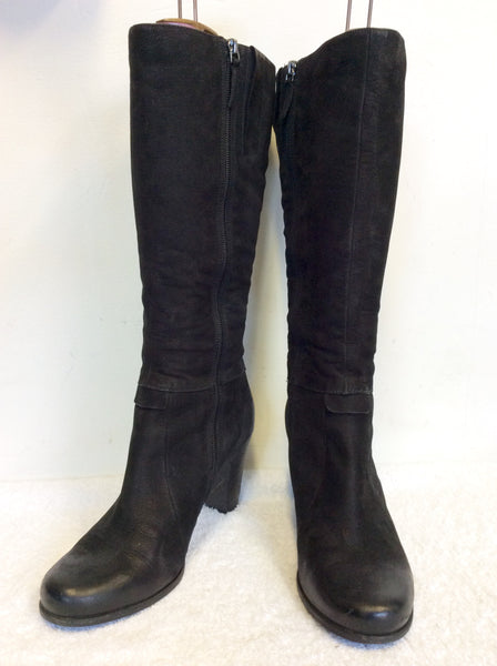 ECCO BLACK PONYSKIN LEATHER HEELED BOOTS SIZE 7/40