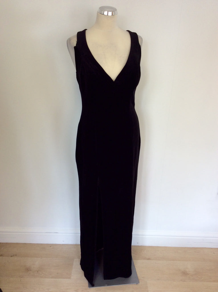 Vintage Long Black Strappy Velvet Evening Dress Size 16 Uk 1214