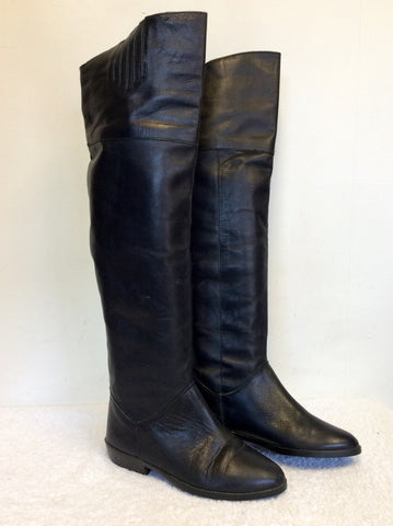 BLACK LEATHER OVER KNEE BOOTS SIZE 4/37