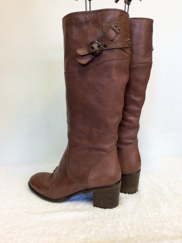 BERTIE TAN BROWN LEATHER BUCKLE TRIM BOOTS SIZE 7/40