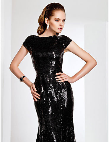 BRAND NEW LIGHT IN THE BOX BLACK SEQUINNED TRUMPET HEM EVENING DRESS SIZE 14