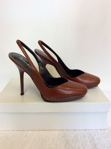 BRAND NEW RUSSELL & BROMLEY CHESTNUT BROWN LEATHER SLINGBACK HEELS SIZE 3.5/36