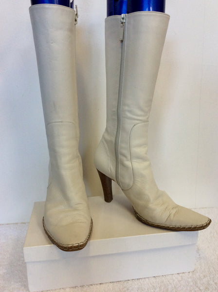 KURT GEIGER WINTER WHITE LEATHER CALF LENGTH BOOTS SIZE 3.5/36