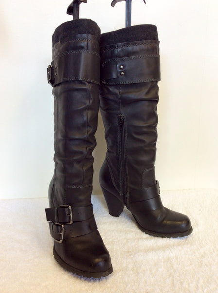 ALDO BLACK BUCKLE TRIM KNEE LENGTH BOOTS SIZE 4/37