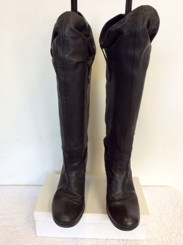 CARVELA BLACK SOFT LEATHER KNEE LENGTH BOOTS SIZE 4/37