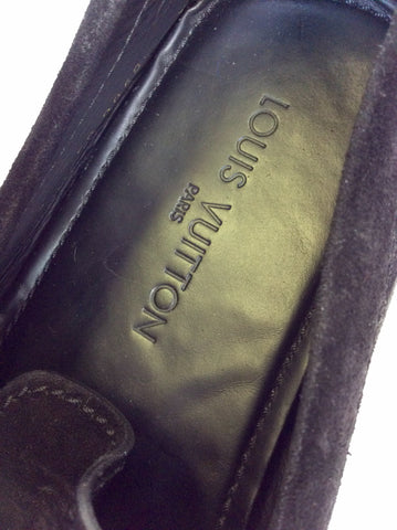 LOUIS VUITTON BLACK SUEDE MONTE CARLO SLIP ON LOAFERS SIZE 9/43