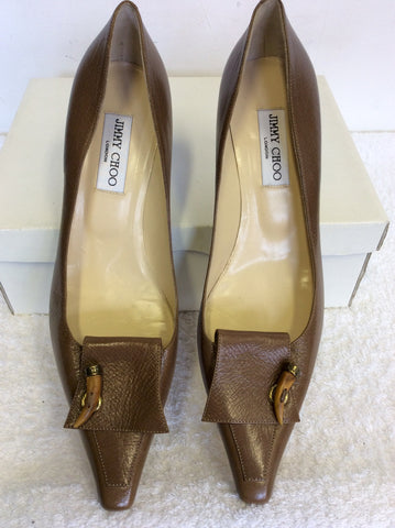 BRAND NEW JIMMY CHOO LIGHT BROWN ALL LEATHER HEELS SIZE 7.5/41.5
