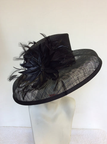 MARKS & SPENCER BLACK FEATHER TRIM FORMAL HAT