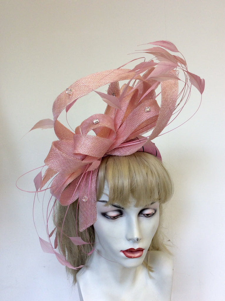 PETER BETTLEY PINK SILK   FEATHER CRYSTAL TRIM FASCINATOR – Whispers ... 4f8c6e96ced