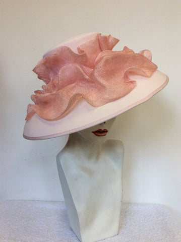 SACS PALE PINK RUFFLE TRIM FORMAL HAT