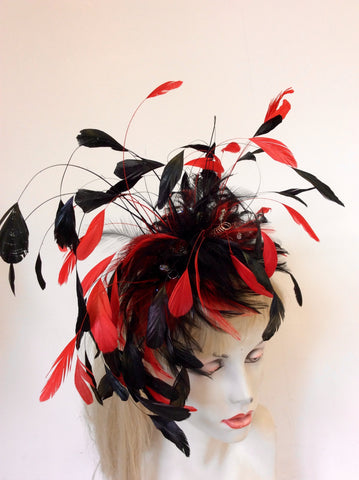 GET AHEAD HATS BLACK & RED FEATHER FASCINATOR WITH SILVER CRYSTALS