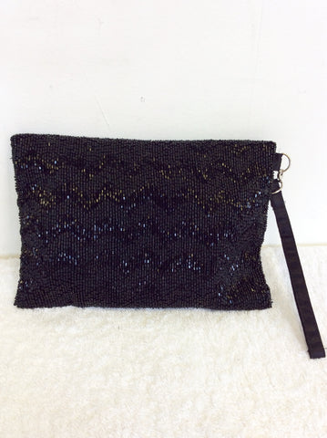 BRAND NEW COAST BLACK BEADED CLUTCH BAG