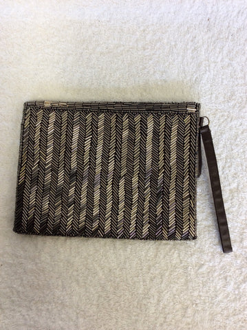 BRAND NEW COAST SILVER GREY BEADED CLUTCH BAG