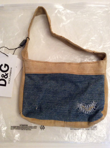 BRAND NEW DOLCE & GABBANA BEIGE SUEDE & BLUE DENIM SMALL SHOULDER BAG