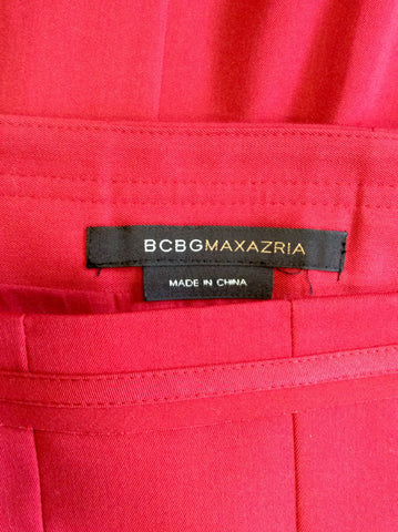 BCBGMAXAZRIA RED PLEATED KNEE LENGTH SKIRT SIZE 14