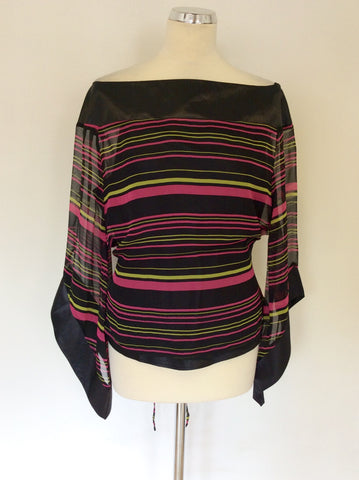 ANNE CARSON BLACK,PINK & GREEN STRIPED TOP SIZE L