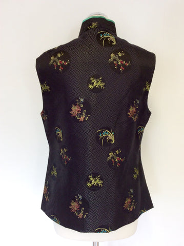 ARTISTIC PALACE BLACK SILK ENBROIDERED CHINESE TOP SIZE L