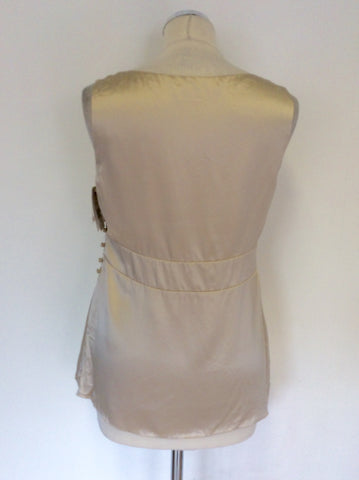 BRAND NEW ELLE MACPHEARSON CARAMEL CREAM BEADED SILK TOP SIZE M