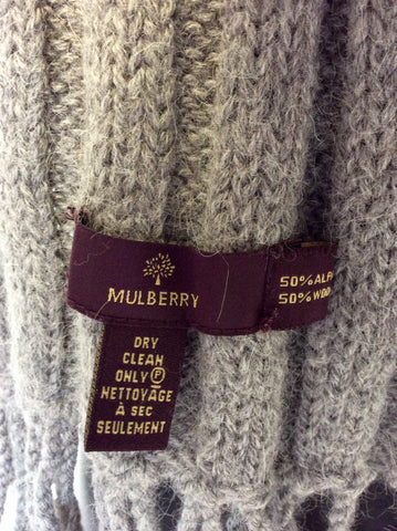 MULBERRY GREY WOOL & ALPACA GREY LONG FRINGED KNIT SCARF