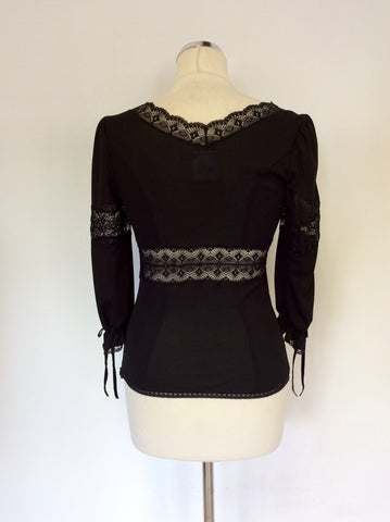 DOLCE & GABBANA BLACK LACE TRIM TOP SIZE 40 UK 8