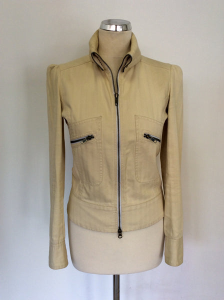 ALL SAINTS CREAM COTTON ZIP UP JACKET SIZE S