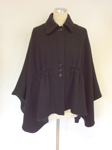 ALL SAINTS BLACK WOOL BLEND CAPE JACKET SIZE 6 WILL FIT LARGER