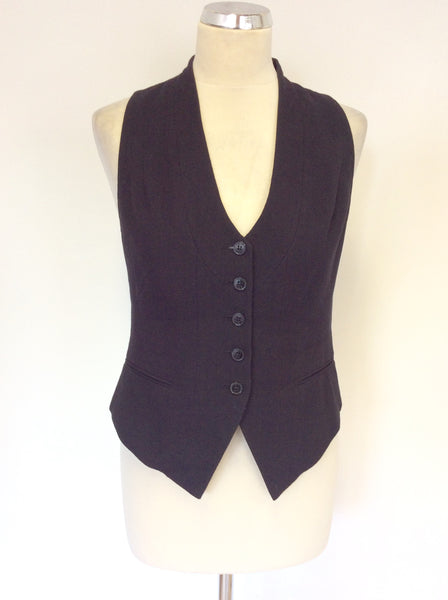ALL SAINTS BLACK WOOL FERMOR WAISTCOAT SIZE 8