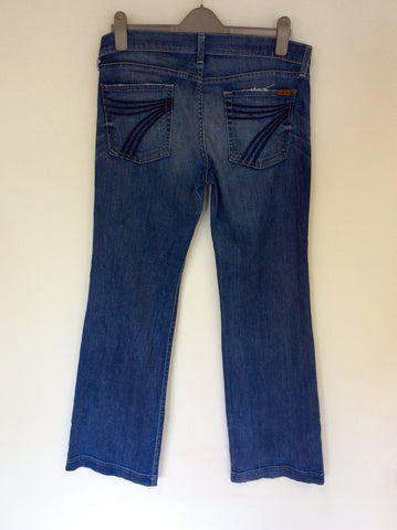 7 FOR ALL MANKIND DOJO BLUE FLARED JEANS SIZE 32W, 34L