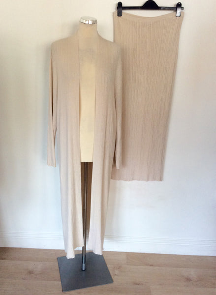 BRAND NEW NITYA CREAM KNIT LONG DUSTER COAT & SKIRT SIZE 18/20
