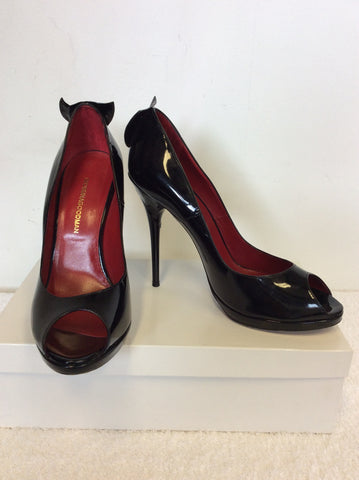 GEORGINA GOODMAN ' HILDA' BLACK PATENT LEATHER PEEPTOE HEELS SIZE 5/38