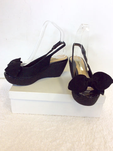 DUNE BLACK SUEDE SLINGBACK HEEL WEDGE SANDALS SIZE 3/36