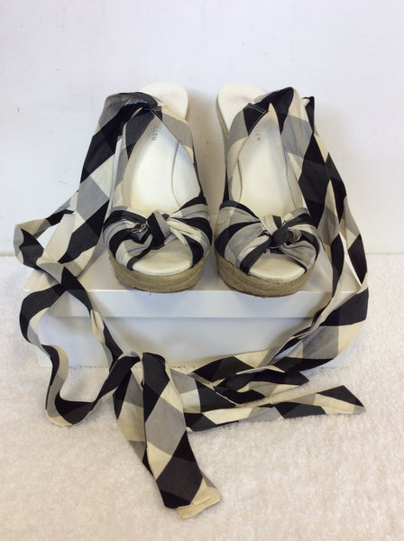KAREN MILLEN BLACK & WHITE CHECK COTTON TIE LEG WEDGE HEEL SANDALS SIZE 6/39