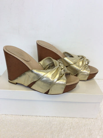 SERGIO ROSSI PALE GOLD LEATHER WEDGE HEEL MULES SIZE 2.5/35