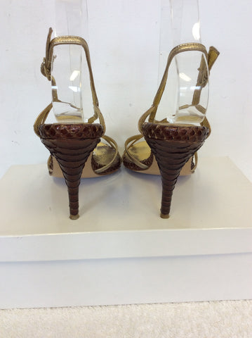 MAGRIT GOLD & BROWN STRAPPY HEELED SANDALS SIZE 5/38