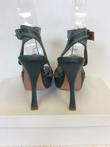 KURT GEIGER TEAL LEATHER STRAPPY HEELED SANDALS SIZE 3.5/36