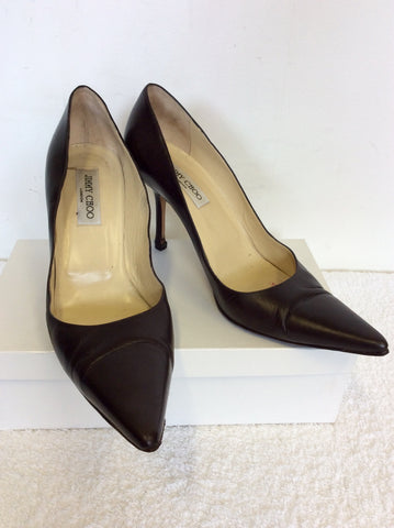 JIMMY CHOO DARK BROWN LEATHER HEELS SIZE 7.5 / 41.5