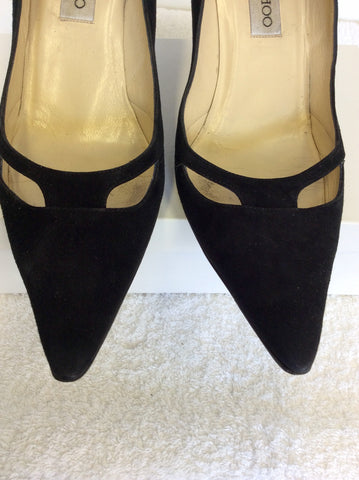 JIMMY CHOO BLACK SUEDE CUT OUT DETAIL HEELS SIZE 7.5/41.5