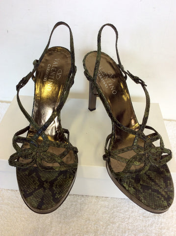 VALENTINO GARAVANI GREEN SNAKESKIN LEATHER HEEL SANDALS SIZE 7/40