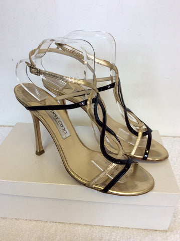 JIMMY CHOO BLACK & GOLD STRAPPY LEATHER SANDALS SIZE 7.5/41