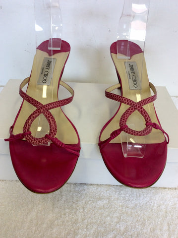 JIMMY CHOO FUSHIA PINK LEATHER HEELED MULE SANDALS SIZE 7.5/41