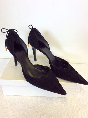 GUCCI BLACK SUEDE BOW TRIM HEELS SIZE 7.5 / 41.5