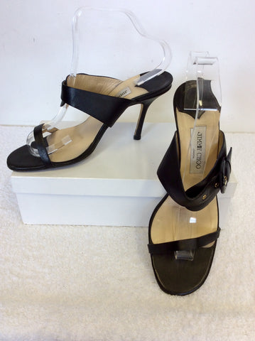 JIMMY CHOO BLACK BUCKLE TRIM STRAP HEELED MULES SIZE 7.5/41