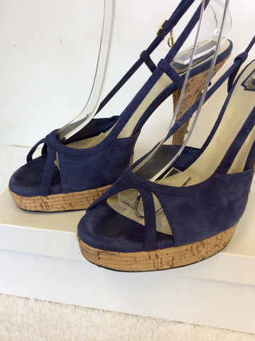 CHRISTIAN DIOR BLUE SUEDE JEWEL TRIM HEEL SANDALS SIZE 7.5 / 41