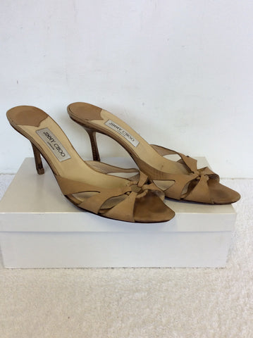 JIMMY CHOO BEIGE LEATHER HEELED MULES SIZE 7.5/41