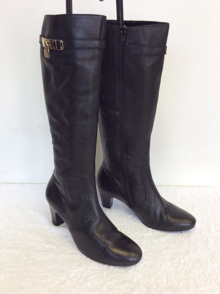 BRAND NEW GABOR BLACK LEATHER KNEE LENGTH BOOTS SIZE 6.5/40