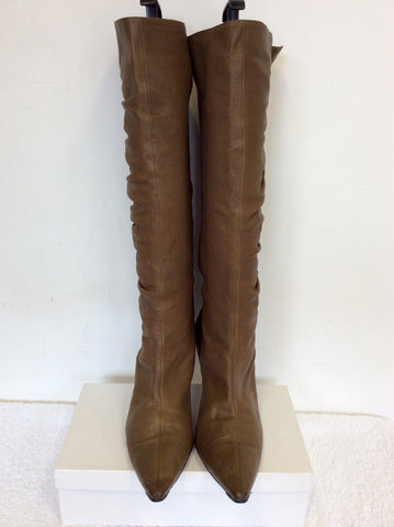 JIMMY CHOO BROWN LEATHER KNEE LENGTH BOOTS SIZE 7.5/41
