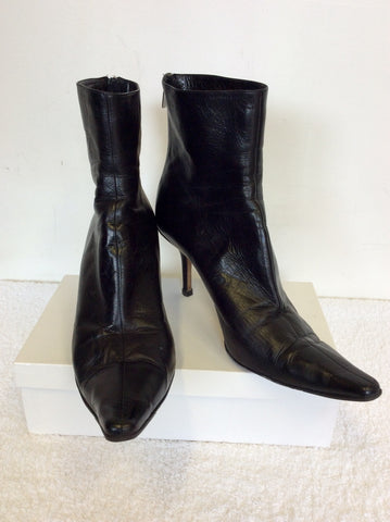 JIMMY CHOO BLACK LEATHER ANKLE BOOTS SIZE 7.5/41.5